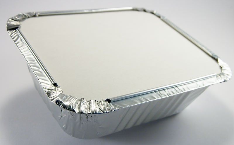 Foil containers with cardboard lids