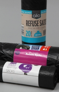 Refuse sacks, garbage bags, bin bags