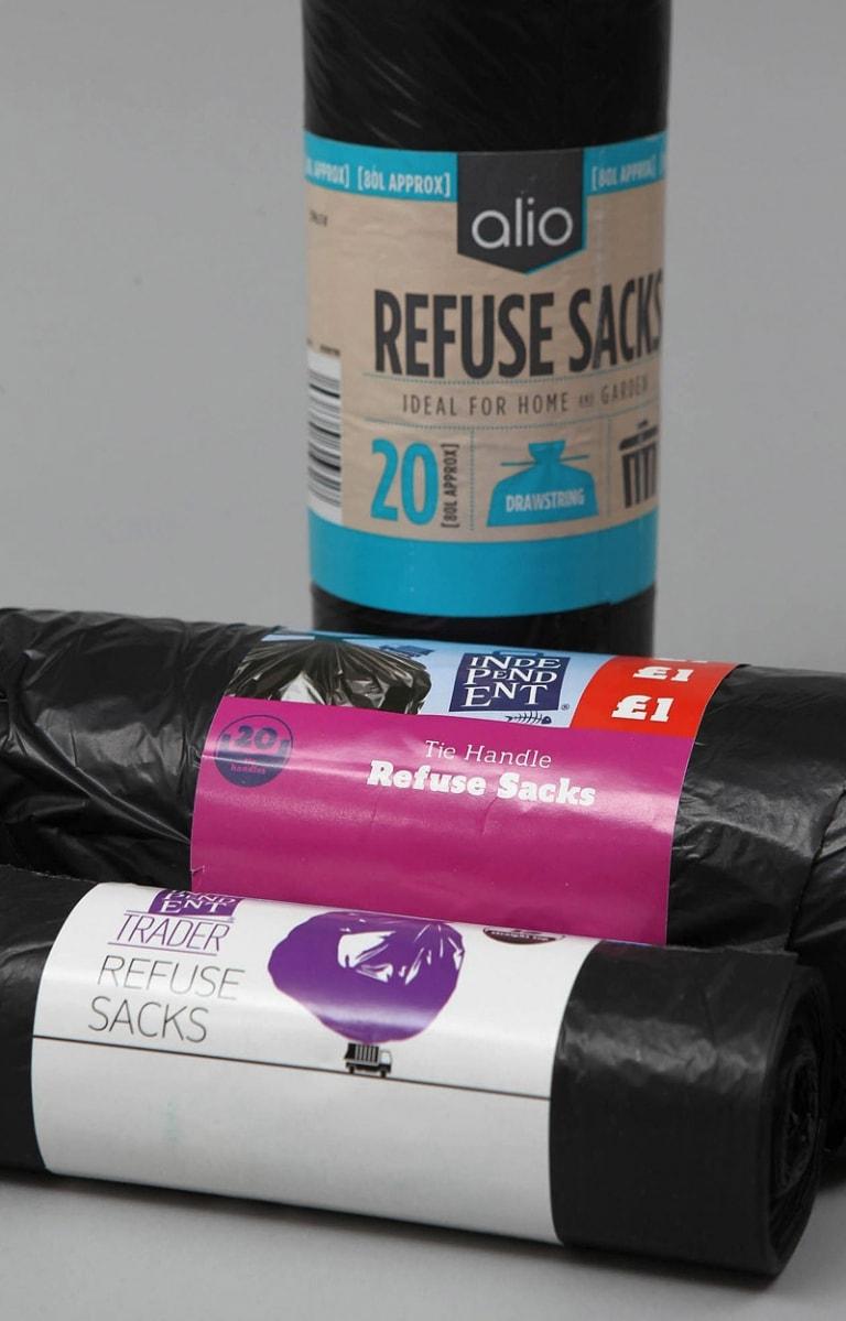 Refuse sacks, garbage bags, bin bags