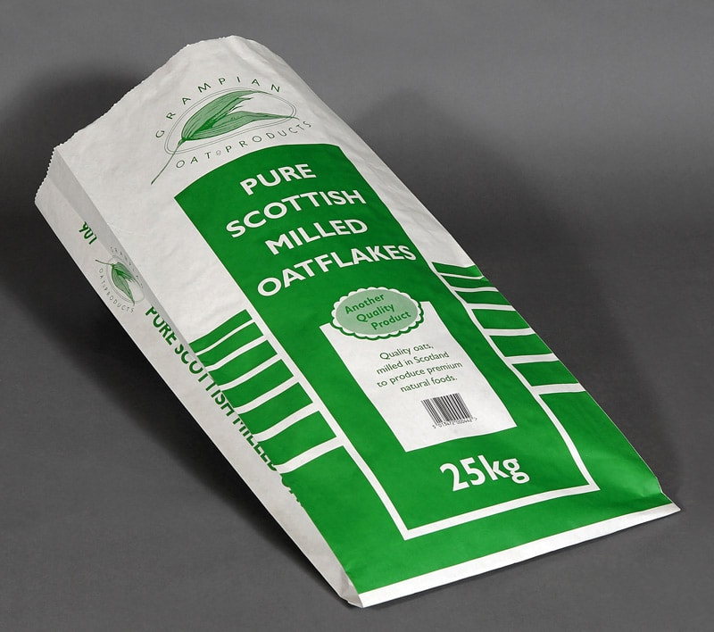 Food ingredient sacks for grain and oats