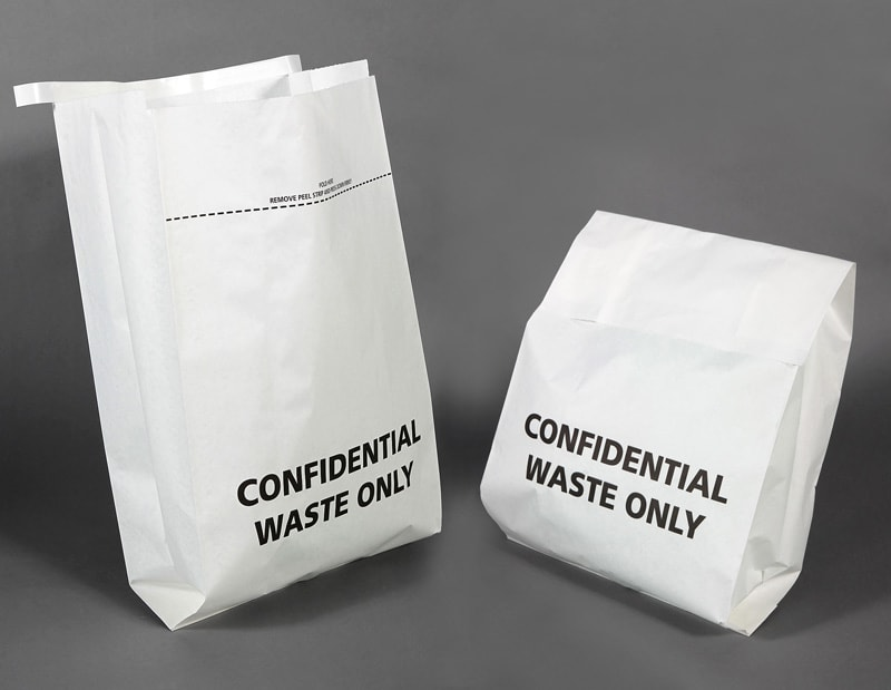 Confidential waste paper shredding bags