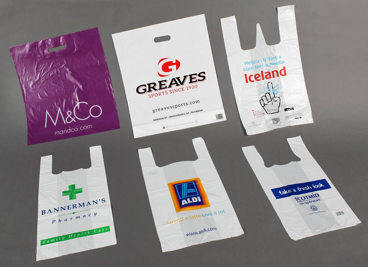 Custom printed polythene carrier bags