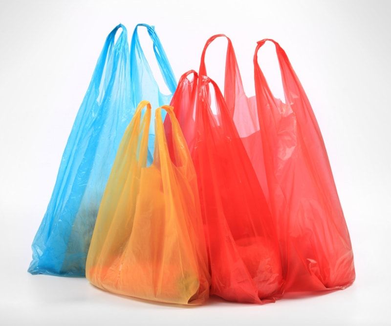 Plain and coloured polythene carrier bags